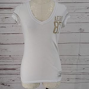 Aeropostale 87 White Fitted T Shirt